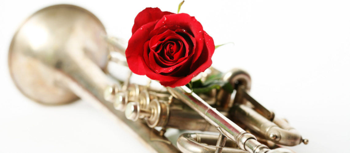red rose with a silver trumpet isolated on white background
